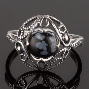 Кольцо с обсидианом